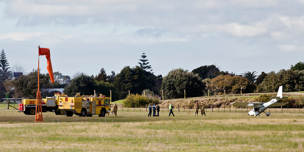 A light plane is on its nose at Tauranga Airport. PHOTO/ANDREW WARNER