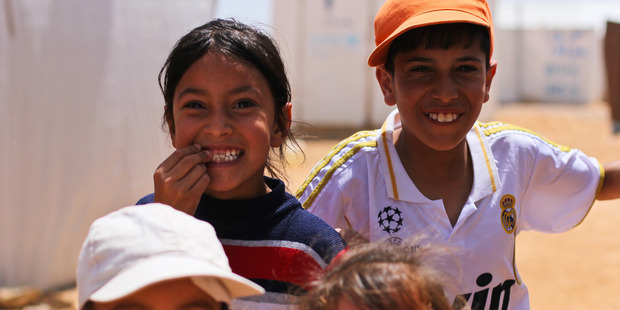 Children at the Azraq Refugee Camp in Jordan. New Zealand will increase its annual refugee quota from 750 to 1000 places from 2018. Picture supplied by World Vision.