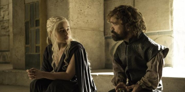 Emilia Clarke and Peter Dinklage in a scene from the final episode of Game of Thrones' sixth season. Photo / HBO