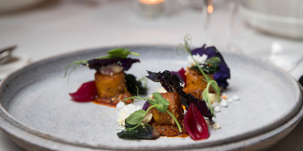 Spiced baby potatoes, paneer, kasndi, and red cabbage. Photo / Jason Oxenham.