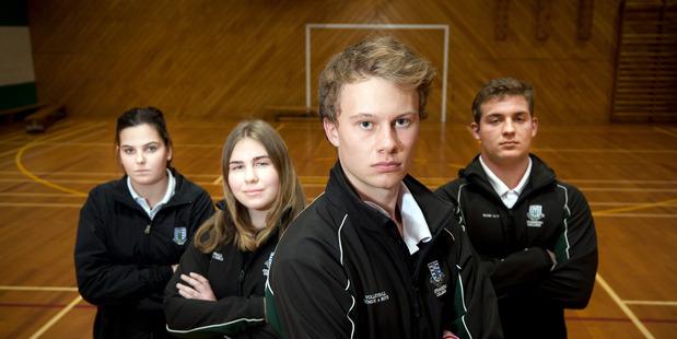 Loading Otumoetai College sport students (l-r) Grace Burnett, 17, Michaela Cleary, 17, Jack Dey, 17, and Joel Wisnewski, 17. PHOTO/ANDREW WARNER
