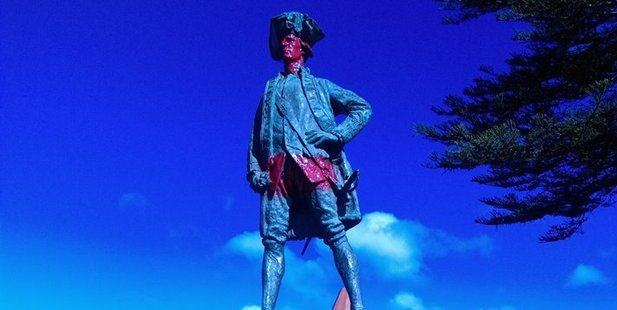 Vandalised statue of Captain Cook in Gisborne. Photo / Facebook