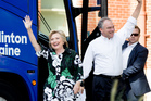 Hillary Clinton and running mate Tim Kaine arrive in Columbus, Ohio on their bus trip. Photo / AP