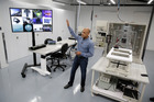 Jay Parikh, vice president of engineering, talks about Area 404, the hardware R&D lab, during a tour at Facebook headquarters in Menlo Park, California. Photo / AP