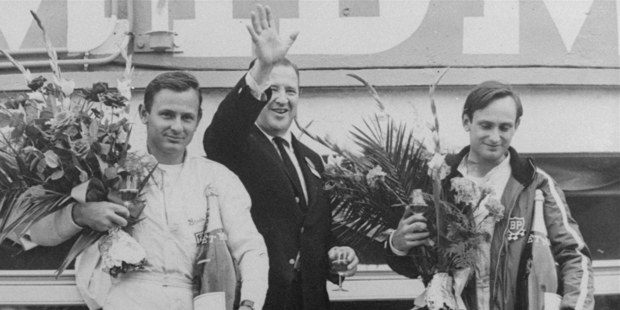 Day of glory for Chris Amon (right) and Bruce McLaren with Henry Ford II after winning at the Le Mans 24-Hour race in 1966. Picture / AP