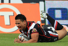 Ben Henry scores a try for the Warriors. Photo / File
