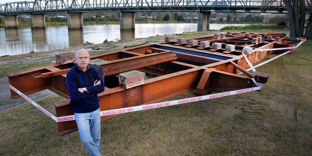 Richard Sheppard, chairman of the PS Waimarie Restoration and Navigation Trust, with the cradle that will hold Whanganui's iconic paddle steamer, the PS Waimarie. PHOTO/STUART MUNRO