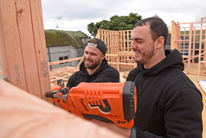 Dylan Guitink, left, and Dylan Cossey of The Block NZ showing off their DIY skills. Photo/George Novak