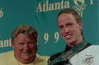 Duncan Laing with gold medal winning swimmer Danyon Loader (right) at the 1996 Olympic Games in Atlanta. Photo / NZ Herald