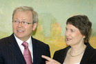 Then Prime Ministers, Kevin Rudd and Helen Clark at Parliament House, Canberra, Australia, in 2008. PHOTO/NZPA / Mark Graham