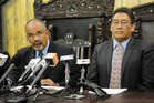 Hone Harawira sits alongside Te Ururoa Flavell to deliver an apology for one of his sins in 2009 when both were Maori Party MPs. PHOTO/ NZ Herald
