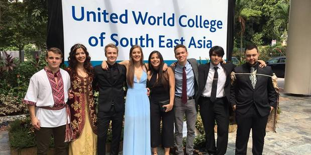 Dannevirke's Reihana Paewai (far right) with graduation friends in Singapore.