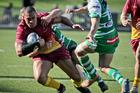 Robbie Fruen, Saracens Magpies, in action against the Manawatu Evergreens on Saturday. Photo / Warren Buckland