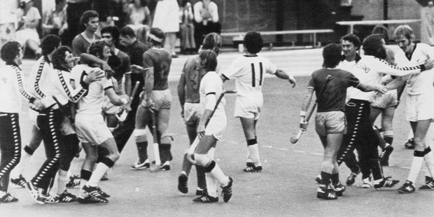 New Zealand Black Sticks players rejoice at the end of their hockey match against Australia, winning the gold medal at the 1976 Montreal Olympics. Photo / AAP