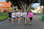 HITTING THE STREETS: Collegiate runners Caitlyn Alabaster, Jane Lennox and Emma Abraham are joined by Ethiopian visitor Haimanot Zamburlini (WHS) head out for a NZ Championship training run.