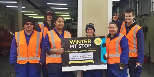 Waiariki Bay of Plenty Polytechnic automotive students gave vehicles a TWIRL during the recent Pit Stop in Rotorua. PHOTO/SUPPLIED