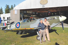 Alan Frewer (left) and Ivan Campbell, who owns and built the Spitfire which the pair took for a spin in the skies over North Canterbury and Christchurch. Photo / The News