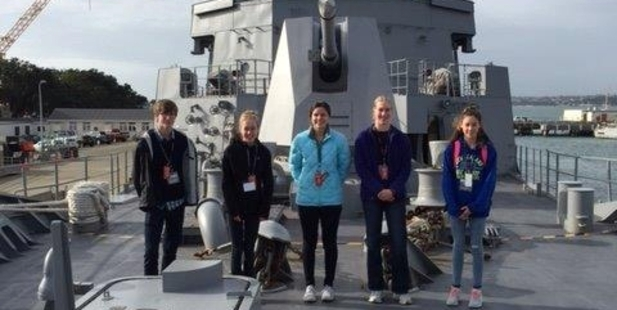 FIRST REWARD: Kaitaia College student Jacinta van der Linden (second right) enjoying her visit to the Devonport Naval Base. PICTURE/SUPPLIED