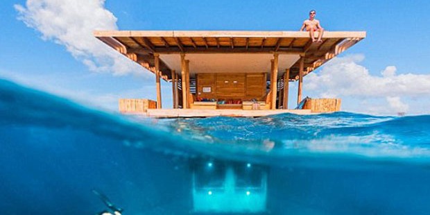 Africa's first underwater hotel room is 13ft below the surface of the Indian Ocean, north of Zanzibar.  Photo / The Manta Resort