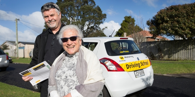 Loading Joan Lardner-Rivlin takes part in a free driving lesson with AA chief driving instructor Bruce Fox. Photo / Nick Reed