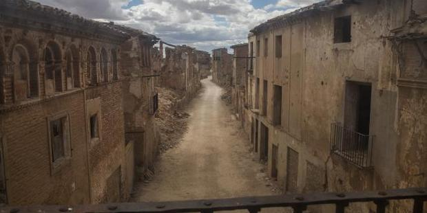 The main street of the old village of Belchite. A child's fearful cries can be heard calling for his mother at dusk. Photo / Ella Pellegrini, News Corp Australia