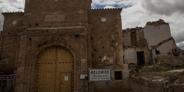 The gate of the ruins of the old village of Belchite. Photo / Ella Pellegrini, News Corp