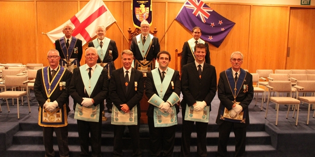 Alexandra Lodge members  back row L-R Ron Cross, John Gozdz, Roger Johnstone, Jacques Cameron. Front row L-R Stever Roberson, Michael Davies, Peter Fox, Paul Mounsey, Geoffrey Wood, George Arnel.