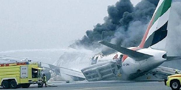 Loading Emirates plane crash lands in Dubai. Photo / Twitter