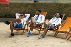 Members of the Greek rowing team talk at the Olympic athletes village in Rio de Janeiro. photo / AP