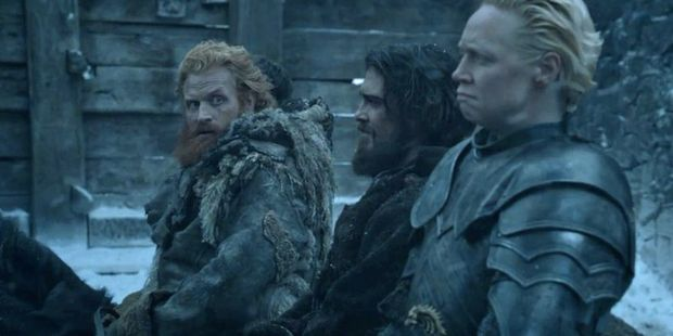 Brienne and Tormund in season six of Game of Thrones. Photo / HBO