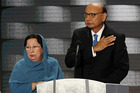 Ghazala and Khzir Khan, parents of fallen soldier Humayun Khan, at the podium during the final day of the Democratic National Convention in Philadelphia on July 28. Photo / Washington Post