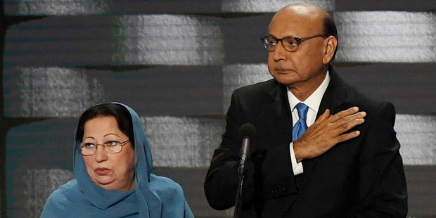 Loading Ghazala and Khzir Khan, parents of fallen soldier Humayun Khan, at the podium during the final day of the Democratic National Convention in Philadelphia on July 28. Photo / Washington Post