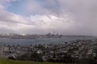 The weather rolls in over Auckland today. Photo/Brett Phibbs