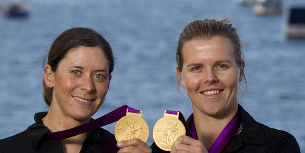 2012 Olympic champions Jo Aleh, left, and Olivia Powrie.
