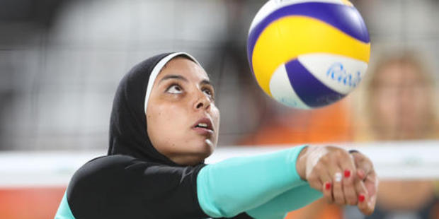 Egypt's Doaa Elghobashy passes during a women's beach volleyball match against Germany. Photo / AP