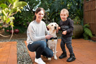 Isaac Gray with his mum Shelley and his soon to be assistance dog, Lady the silver lab. Photo/Ruth Keber