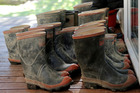 Gumboots outside Ngamatapouri School on the Waitotara Valley Rd. Monday. August 08, 2016 Wanganui Chronicle photograph by Bevan Conley.