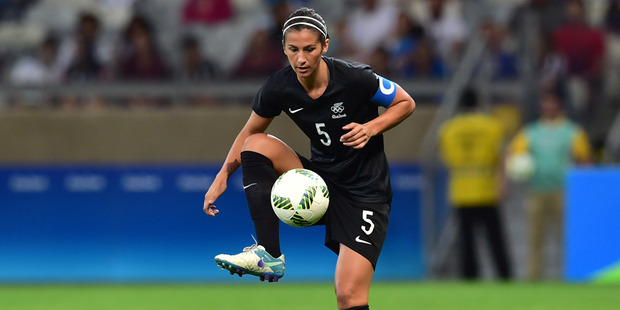 Loading Abby Erceg have New Zealand who was red carded this morning in the Football Ferns match against Colombia. Photo / Getty