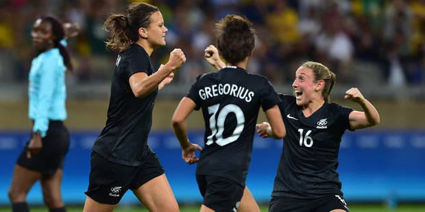 The New Zealand Football Ferns celebrate their 1-0 win over Columbia. Photo / Photosport