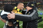 Chris Boyd celebrates the Hurricanes' first Super Rugby title with Victor Vito. Photo / Photosport