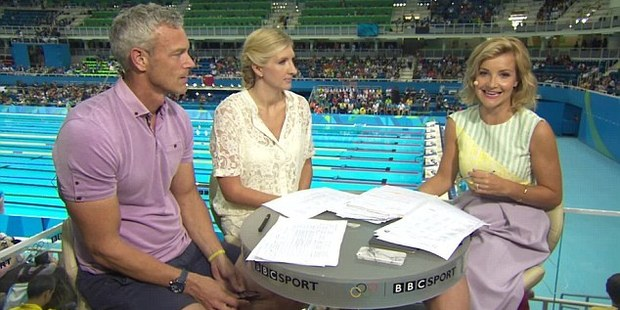 Helen Skelton, right, opted for a below-the-knee purple skirt today after enduring criticism over her choice of outfit while presenting the Olympic swimming in the past two days. Photo / BBC