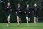 Cross-country runners (from left) Joseph Clark, 16, Stuart Hofmeyr, 15, Murdoch McIntyre, 14, and Jude Darby, 14. Photo / Brett Phibbs