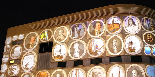A display is projected onto the outside wall of Te Papa during an opening event at the 2012 NZ International Arts Festival. Photo / Creative Commons image by Flickr user Kristina D.C. Hoeppner