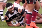 Hawke's Bay Magpies hooker Jorian Tangaere is all smiles after his 46th-minute try yesterday. Photo / Paul Taylor