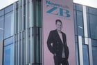 TVNZ and Newstalk ZB broadcaster Mike Hosking  adorns the NZME building — an example of media coming together. Picture / Jason Oxenham