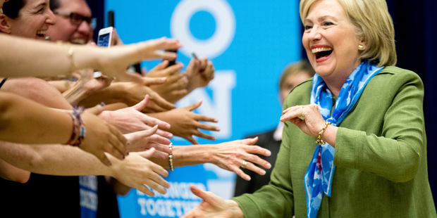 Democratic presidential candidate Hillary Clinton arrives at a rally at Adams City High School in Commerce City, Colorado. Photo / AP