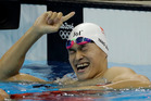 China's Sun Yang celebrates winning the final of the men's 200-meter freestyle during the swimming competitions at the 2016 Summer Olympics. Photo / AP