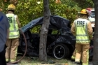 One person has died and two have been injured after a crash in central Auckland this afternoon. This car hit a tree on Ian McKinnon Drive near Dominion Rd around midday. 17 January 2016 New Zealand Herald Photograph by Dean Purcell.