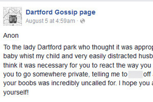 The incident was made by an anonymous person on the Dartfood Gossip Facebook page. Photo / Facebook