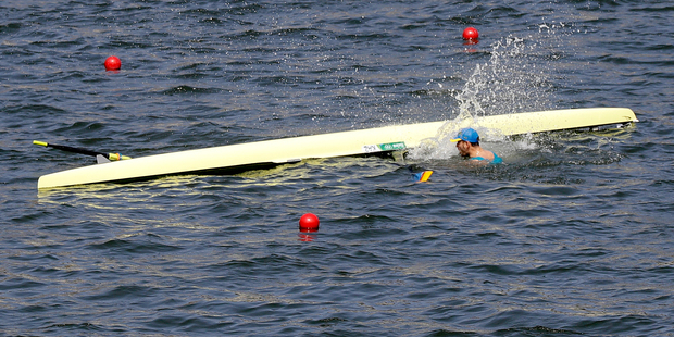 A number of rowing crews have capsized while racing in tough conditions at the Rodrigo de Freitas lagoon so far at the Rio 2016 Olympics. Photo / AP